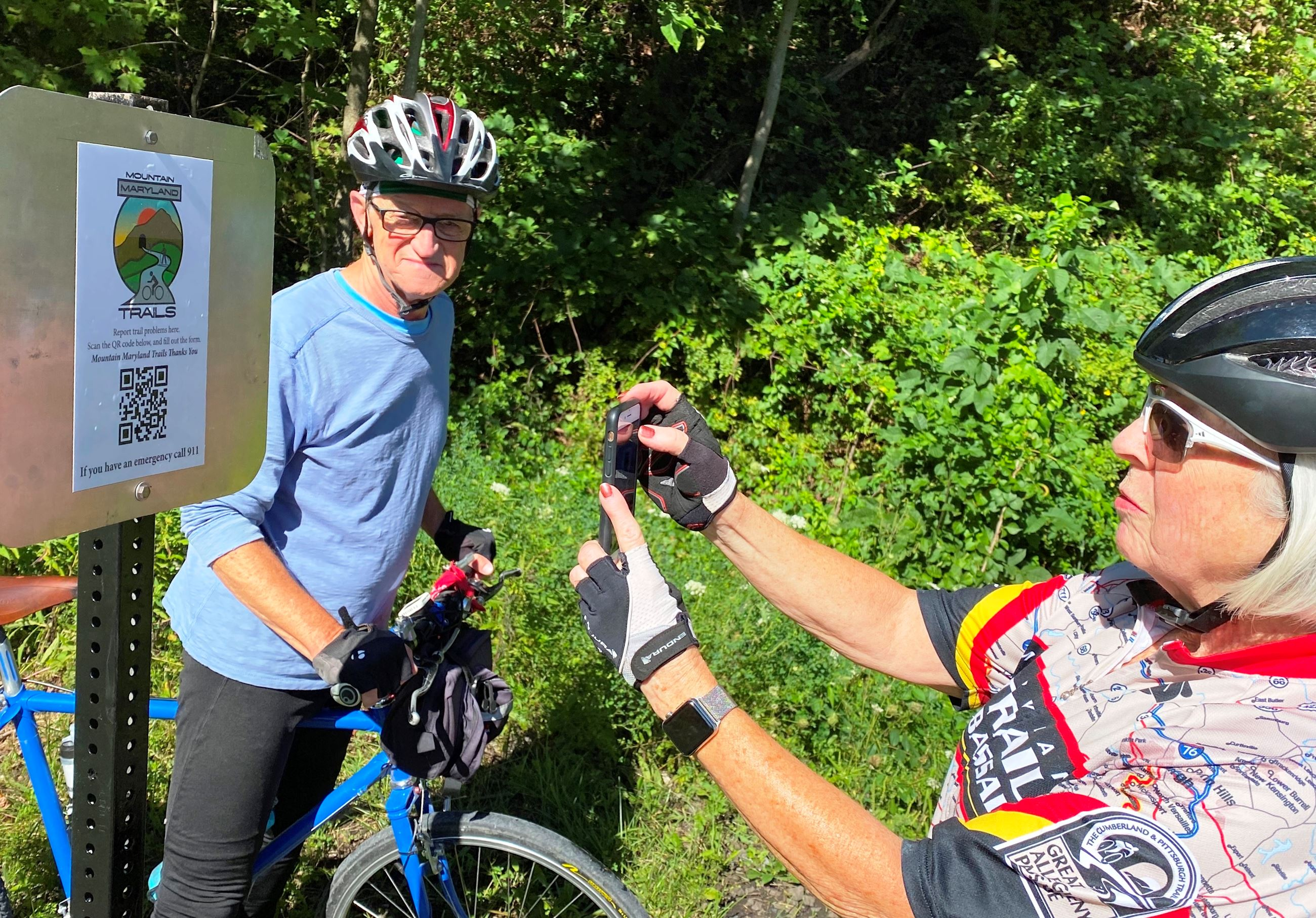 MMT Trail Signage Project_Cyclists with QR Code